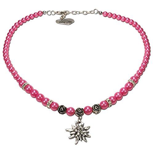 Alpenflüstern Perlen-Trachtenkette Fiona mit Strass-Edelweiß klein - Damen-Trachtenschmuck Dirndlkette pink-Fuchsia DHK122