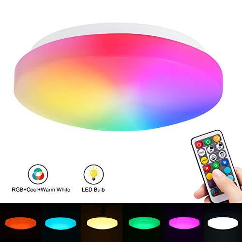 1X LED-Deckenleuchte mit Farbwechsel, RGBW + Warm- und Kaltweiß, 26 cm (10 Zoll), 15 W, wasserdicht (IP44), ersetzt 100 Watt, 1250 lm, Dual Memory, LED-Lampe mit Fernbedienung