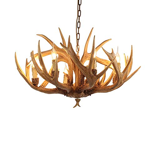 HLL Candelabro, candelabros de vela de asta retro, luz de techo de cuerno de ciervo de estilo europeo E14, lámpara colgante rural vintage de resina de 6 luces para comedor, sala de estar, bar, granja