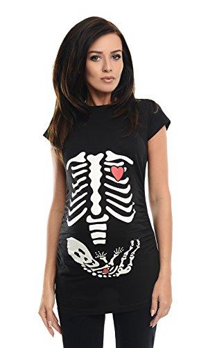 Purpless Geschenk für Schwangere Damen Umstands-Oberteil Lustige Umstandsmode Baumwolle Frauen Top Mütter T-Shirt mit Skeleton Baby Skelett Druck 2003 (40, Black)