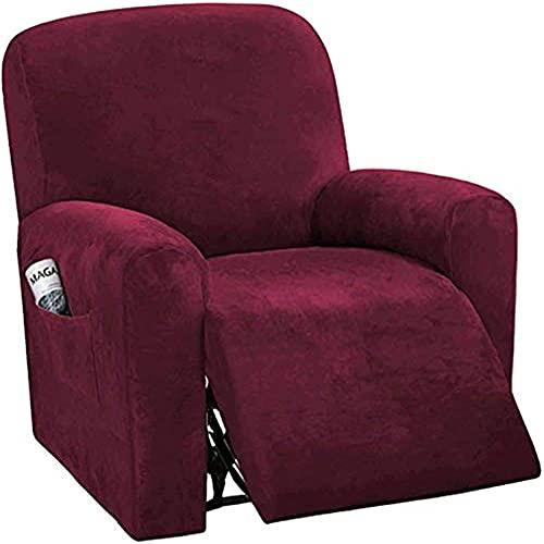 BXFUL Elástica Funda De Sillón Relax, Funda De Sillón Suave Antideslizante Lavable Protector De Muebles para Niños Mascotas Fundas de sofá Suaves duraderas (Vino Rojo)