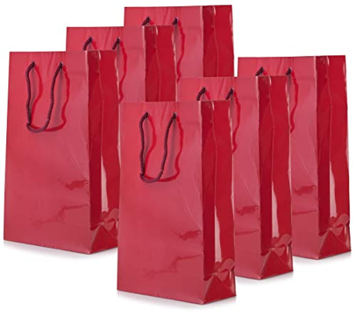 Wine Color Euro Tote Paper Gift Bag Perfect for Boutique Gifts, Party Favor, Wedding Gifts, Kid's Birthdays, Anniversaries, and Gifts, (6 Pack) Size 7 in x 3-1/8 in x 11-7/8 in