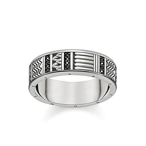 Thomas Sabo anillo Unisex jeroglíficos ornamentación, 925Plata de Ley, circonitas Pave negro ennegrecido tr2108–643–11, Plata-esterlina, silver, black, 52