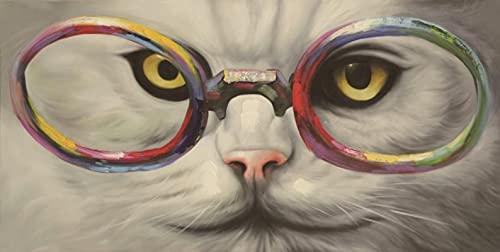 Puzzles para Adultos, Pieza 3000, Rompecabezas de Gato Blanco con Gafas, Juguetes de Aprendizaje cognitivo para Adultos, Juegos de Rompecabezas de Inteligencia, 12x81cm