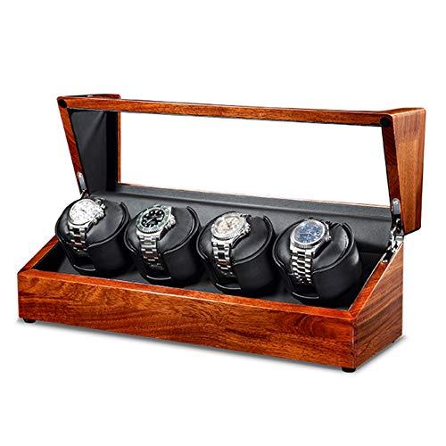 ZNND Watch Caja Giratorias para Relojes Cargador para Relojes Automáticos Aloja hasta 4 Relojes Watch Winder con Motor Silencioso 5 Modos Diferentes Rotación (Color : Black)