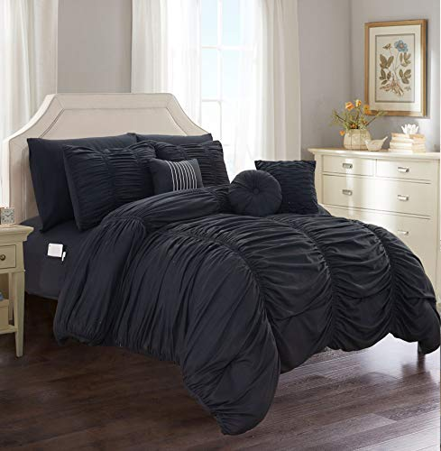 Elegant Comfort Luxury Best, Softest, Coziest 10-Piece Bed-in-a-Bag Pleated Comforter Set, Ruched Ruffle Comforter Set Includes Bed Sheet Set with Double Sided Storage Pockets, King/Cal King, Black