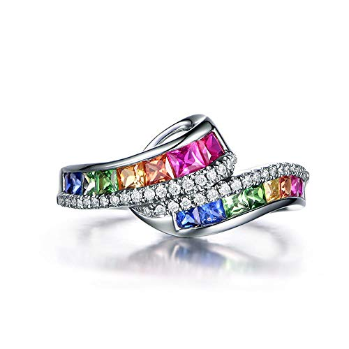 925 Sterling Silver Fashion Natural Ruby Sapphire Emerald Ring 18K Gold Plated Diamond Rainbow Gemstone Women's Ring CZ Eternity Engagement Wedding Band Ring for Women (US Code 8)