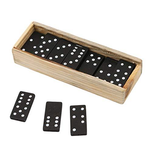 Richolyn 2pcs Wooden Domino Set Domino Spiel Kinder Holz Dominosteine Dominospiel Im Holzkasten Domino Game Holz Domino Für Kinder Für Home Party