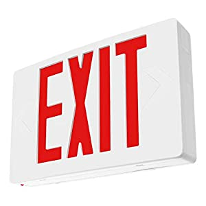 LFI Lights - Hardwired Red LED Exit Emergency Sign Light - Standard - Battery Backup - LEDRBB