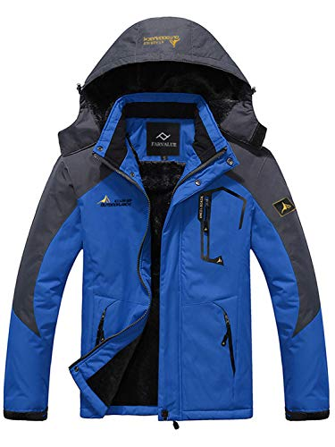 Farvalue Men's Waterproof Ski Jacket Mountain Winter Warm Snow Coat windbreaker Snowboarding Jacket with Hood Blue Medium