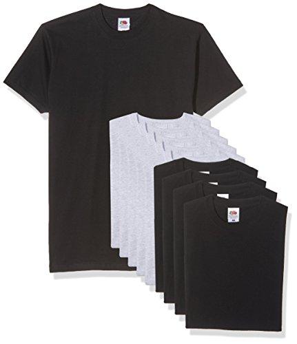 Fruit of the Loom Herren T-Shirt Valueweight, 10er Pack, Mehrfarbig (Black/Heather Grey), Large
