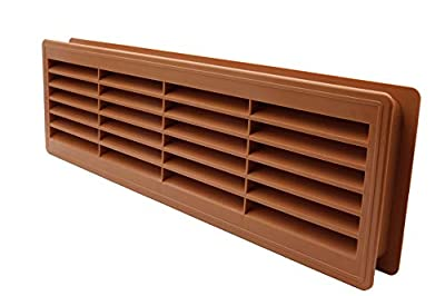 """Door Air Register - Two Sided Door Louvers - Ventilation Grille - Indoor Vent Grates - Bathroom, Cabinet, Garage Through The Door Vent Cover - Color: Brown - 18""""x5"""" by Vent Systems"""