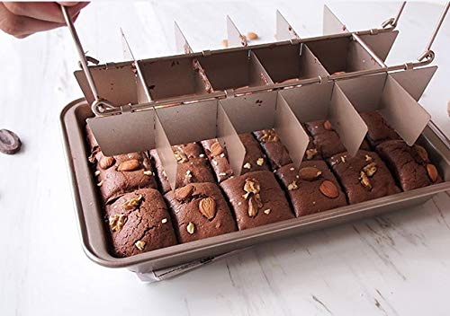 JampN Brownie Cake Pan Non Stick Carbon Steel 18 Pre Slice Baking Tray 12 x 8 x 2 inc