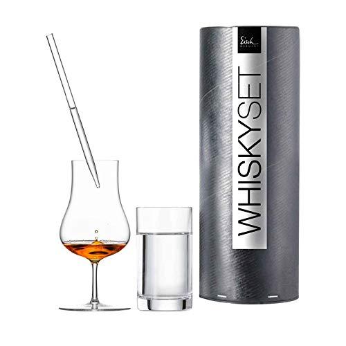 Eisch Gentleman SensisPlus Whisky-Geschenkset 86590007 - Malt Whisky Glas, Wasserbecher & Pipette