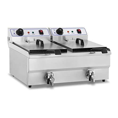 Royal Catering RCEF-16DH Edelstahl Elektro-Fritteuse Volumen 2 x 16 l Leistung 2 x 3.500 W Kaltzonen Friteuse Fritteuse Fritöse