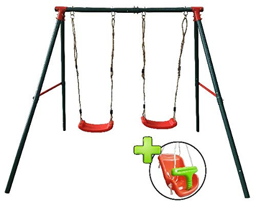 MASGAMES | Columpio metálico de Dos plazas BAMBÚ | 2 Asientos Planos de plástico y Cuerdas + Silla Extra de bebé con Respaldo | Anclajes incluidos | Uso doméstico |