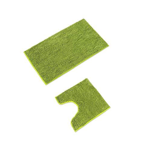 WohnDirect Badematten Set • WC Vorleger (45x45cm), Badematte (50x80cm) • rutschfest waschbar Badezimmerteppich MIT WC-Ausschnitt - Grün