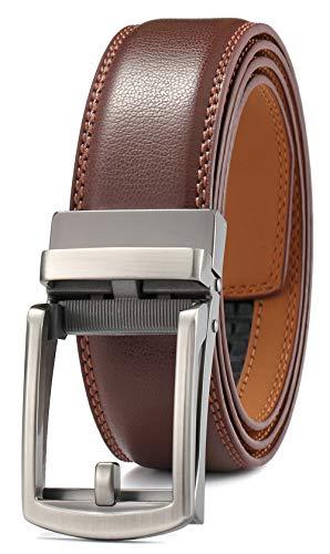 GFG Cinturón de cuero para hombres con hebilla automática 35mm Ancho-0040-140-Marrón