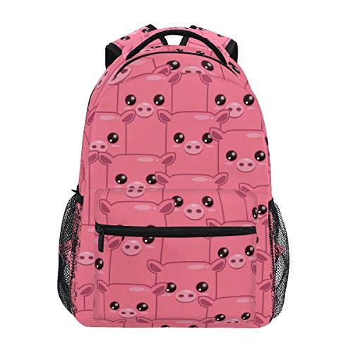 Polyester Backpacks for School Teenager Girl Waterproof Pink Pig Backpack Bookbag Shoulder Bag Laptop Travel Handbag Daypack