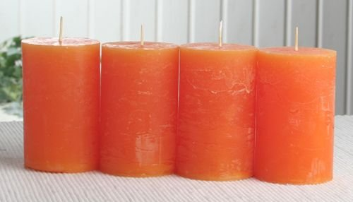 SET: 4x Rustik-Stumpenkerze, 8 x 5 cm Ø, mandarin-orange