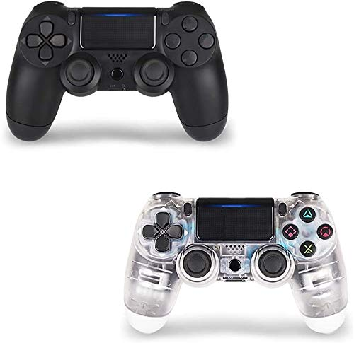 2 Pack Wireless Controller for PS4 2 Pack, Gamepad for PS4-YU33 Wireless Controller for Playstation 4, 3rd-Party Works (Transparent White + Black)