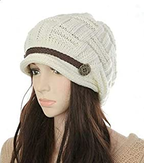 Headwear Women Warm Rageared Baggy Winter Beanie Chunky Knit Crochet Ski Hat Cap GH3132 White