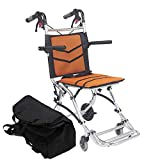 KosmoCare Styler Plus Premium Imported Ultra Lightweight Transporter Wheelchair With Bag and - Crest Series-Orange