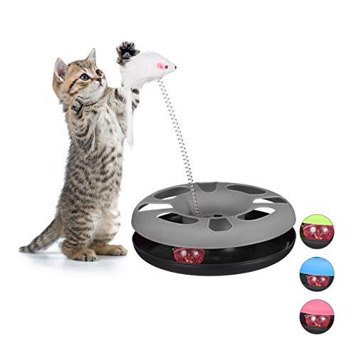 Relaxdays 10023896_111, grau Katzenspielzeug mit Maus, Kugelbahn, Ball mit Glöckchen, Cat Toy, interaktiv, Training & Beschäftigung