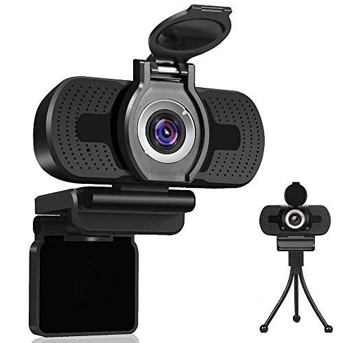 Dericam Webcam 1080P con Microfono, Webcam per Computer USB, Webcam Plug And Play per Desktop e Laptop per Windows Mac OS, per Streaming di videochiamate, conferenze, Giochi, lezioni Online