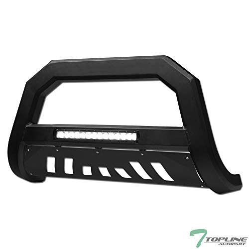 Topline Autopart Matte Black AVT Style Aluminum LED Light Bull Bar Brush Push Front Bumper Grill Grille Guard With Skid Plate For 07-20 Toyota Tundra / 08-20 Sequoia