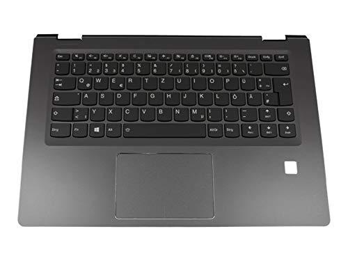 Lenovo Yoga 510-14ISK (80S7) Original Tastatur inkl. Topcase DE (deutsch) schwarz/schwarz mit Backlight mit Aussparung für Fingerprint-Reader