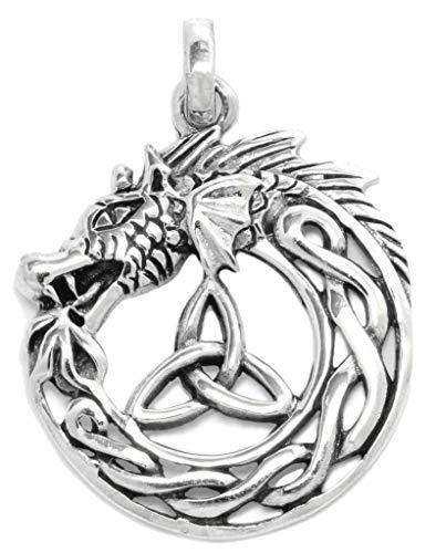 Windalf Pagan Drachen Anhänger BRAÍGH 3.2 cm Midgardschlange Keltische Triskele 925 Sterlingsilber