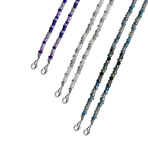Heyah 3 Pack Beaded ID Name Lanyard Strap for Women Face Mask Holder, Crystal Eyeglass Holder Strap Chains, Beaded Chain Bracelet