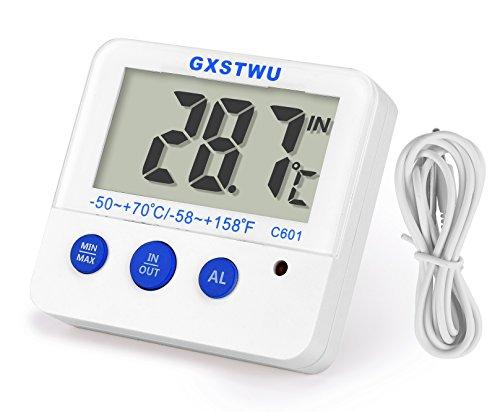 GXSTWU 新版 デジタル水温計 高温低温アラーム 水槽 水族箱 温度計 熱帯魚 最高最低温度記録 マグネット付 日本語取扱説明書付属 ホワイト(1本) 1カ年の保証