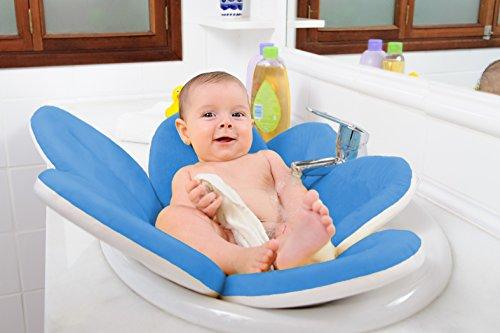WonderWaldLight Flor de baño - Bañe a su niño en la bañera - Diversión de baño al 100% para usted y su bebé, camilla acolchada, acogedor, cómodo y suave - Azul