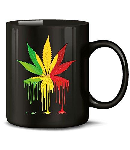 Golebros Reggae Blatt 5340 Tasse Becher Kaffeetasse Kaffeebecher mit Spruch Gras Cannabis Drogen Sprüche Geschenk Artikel Marihuana Drug Dope Kiffer