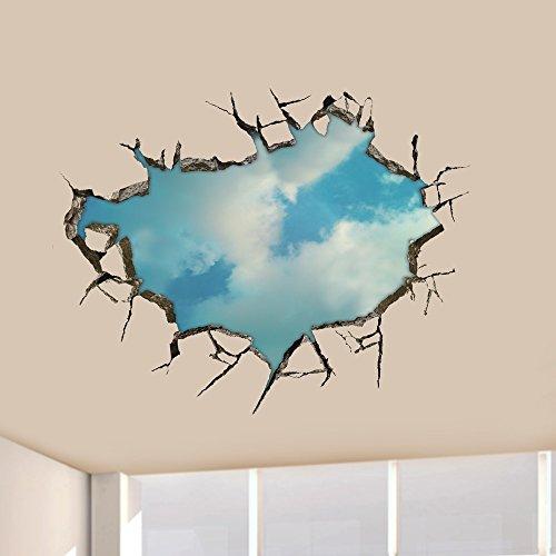 PhilMat Autoadesivi di arte 3d cielo stickers murali soffitto della parete del foro decorazioni per la casa 22 pollici rimovibile