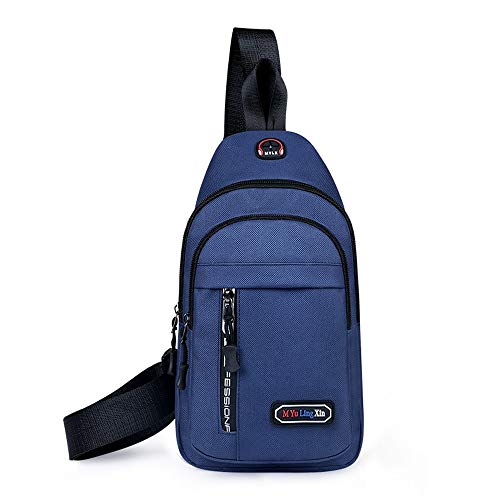 Vinteen Kopfhörer stecker tasche brusttasche ladeanschluss crossbody for männer frauen leichte wandern reiserucksack schultertasche diebstahl rucksack schulter (Color : Blue)