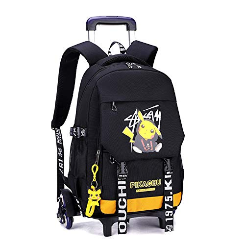 Fashionable Computer School Backpack with Six Wheelst,Travel Business Work Backpack Cartoon Pikachu Backpack,Six-Wheel Trolley Backpack (yellow4)