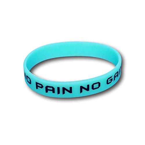 Juego de 3pulseras de fitness con frases a elegir–Pulseras de silicona en azul, verde, rosa– Pulseras de EKNA que brillan en la oscuridad., No Pain No Gain