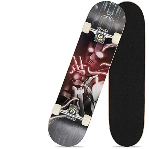 Flowerrs Skateboard 7-lagiges Ahorndeck, Teenager Anfänger Erwachsene Kinder Jungen Jungen Mädchen vielfältiges Design Deck komplettes Skateboard-Upgrade-Mechaniker_Double Tilt Skateboard