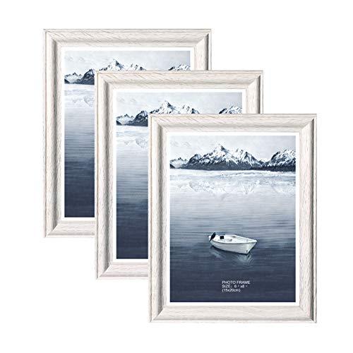 Metrekey 3er Set Bilderrahmen 15 x 20 cm Vintage Weiß Holz aus MDF mit Glas Portraitrahmen Wechselrahmen Fotorahmen mit Ständer für Zuhause und Wanddekoration