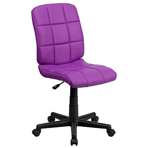 Flash Furniture Mid-Back Purple Quilted Vinyl Swivel Task Office Chair, BIFMA Certified