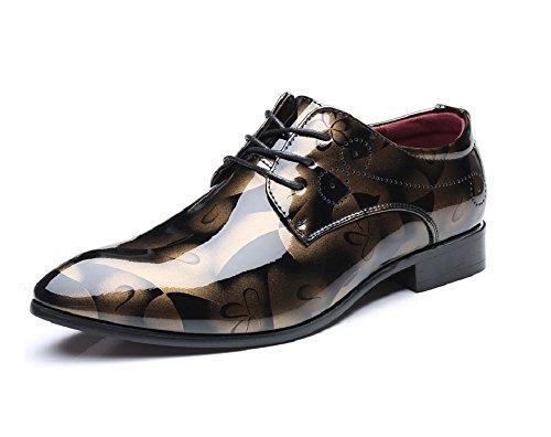 Anzugschuhe Business Herren, Lederschuhe Lackleder Hochzeit Derby Schnürhalbschuhe Oxford Smoking Schuhe Männer Leder Braun Blau Grau Rot 37-50 GD42