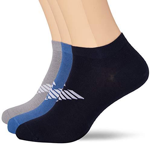 Emporio Armani Underwear Herren Bold Logo Multipack In-Shoe Socken, 100 DEN, Blau (Blu/Bluette/Grigio 66335), 38/39 (Herstellergröße: XS)