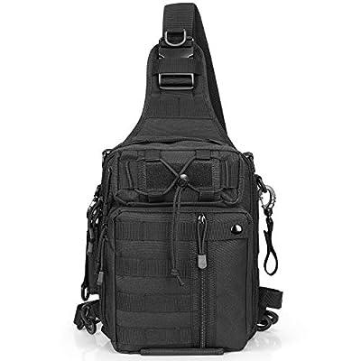G4Free Fishing Tackle Backpack Tactical Sling Bag Water Resistant Fishing Backpack with Rod Holder Outdoor Shoulder Backpack Cross Body (Black)