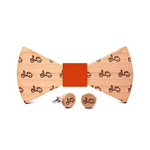 Conjunto pajarita y gemelos de madera Vespa. Colección moda hombre: línea boda y eventos. Diseño de la mítica moto italiana. Regalo elegante y original. Nudo a elegir