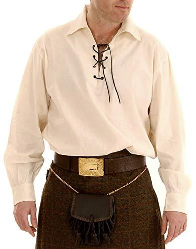 Claymore Highlander Mens Ivory Ghillie Shirt, Mens Jacobite Ghillie Shirt for Kilts, Renaissance Shirt for Men - 3XL