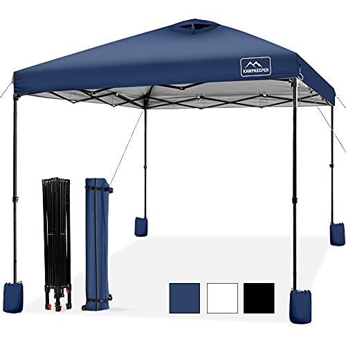 KAMPKEEPER Pop-up-Canopy-Tent-10'x10', Air Vent on The Top, 4 Sand Bags, UPF 50+ and Waterproof Shelter, 3 Adjustable Height with Wheeled Carrying Bag, 4 Ropes and 8 Stakes, Outdoor Instant Canopy