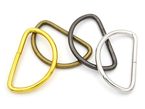 """CRAFTMEmore 1 1/4 & 1 1/2 Inches D-Ring Findings Metal Non Welded D Rings for Belts Bags Landyard Leathercraft Avail 4 Colors (1 1/2"""" x 20 pcs, Gold)"""
